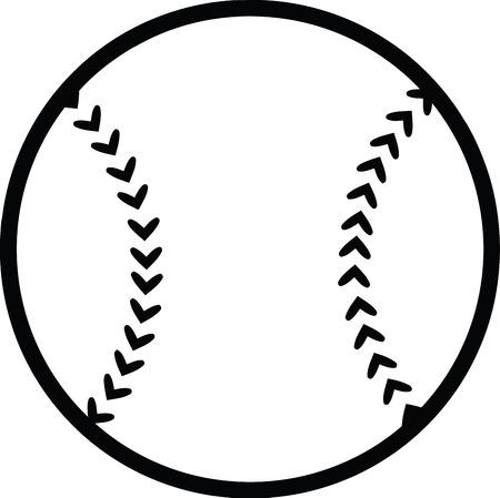 Black and White Baseball Ball  Illustration Isolated on white