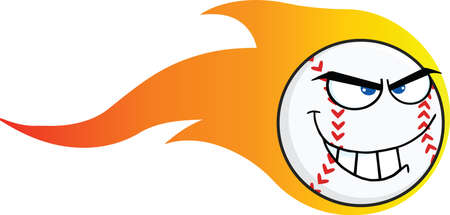 Flaming Angry Baseball Ball Cartoon Character  Illustration Isolated on white Vector