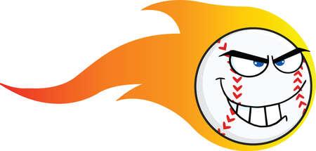 flaming: Flaming Angry Baseball Ball Cartoon Character  Illustration Isolated on white