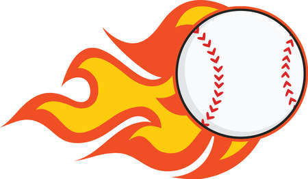 fast pitch: Flaming Baseball  Illustration Isolated on white
