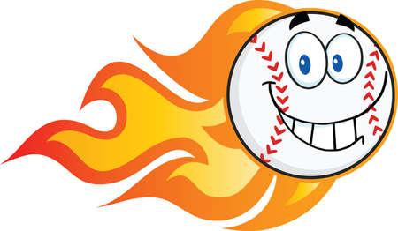 flaming: Smiling Flaming Baseball Ball Cartoon Character  Illustration Isolated on white Illustration