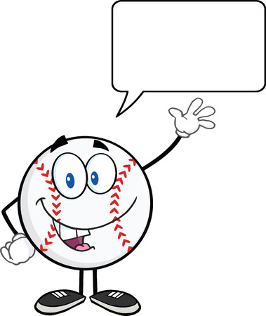 hardball: Baseball Ball Cartoon Character Waving For Greeting With Speech Bubble  Illustration Isolated on white Illustration