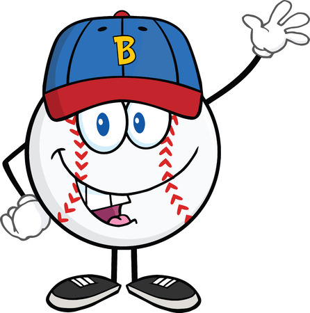 Baseball Ball With Cap Cartoon Mascot Character Waving  Illustration Isolated on white Vector