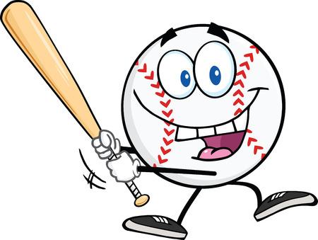 base ball: Happy Baseball Ball Swinging A Baseball Bat  Illustration Isolated on white
