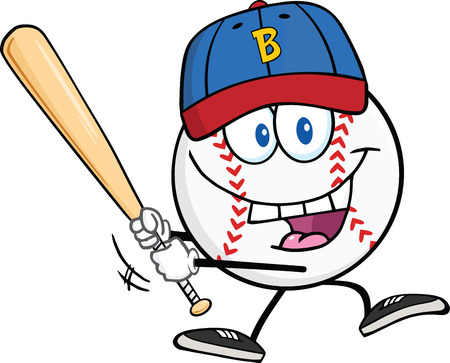 baseball cartoon: Happy Baseball Ball With Cap Swinging A Baseball Bat  Illustration Isolated on white Illustration