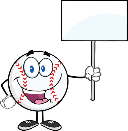 Happy Baseball Ball Holding A Blank Sign  Illustration Isolated on white Vector