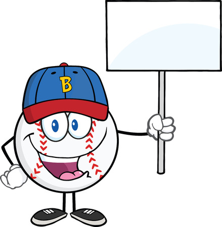 Happy Baseball Ball With Cap Holding A Blank Sign  Illustration Isolated on white Vector