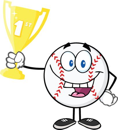 primer premio: Bola de b�isbol feliz Holding Primer Premio Trofeo de la Copa de la ilustraci�n aislado en blanco Vectores