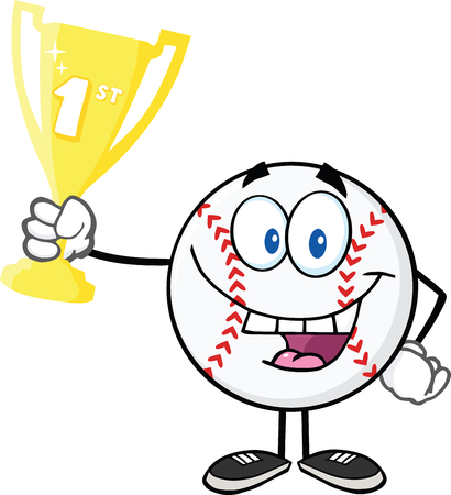 Happy Baseball Ball Holding First Prize Trophy Cup  Illustration Isolated on white Vector