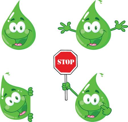 Eco Green Drops Cartoon Character  Collection Set Vector