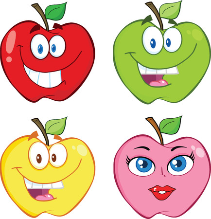 Apple Cartoon Characters  Collection Set Vector
