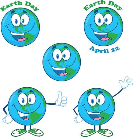 Earth Cartoon Mascot Character  Collection Set  Vector