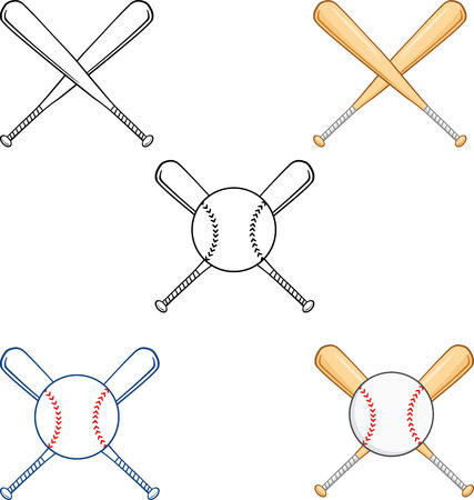 Crossed Baseball Bats  Collection Set Vectores