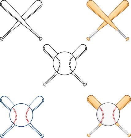 Crossed Baseball Bats  Collection Set Illustration