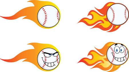 fire ball: Flaming Baseball Balls  Collection Set Illustration