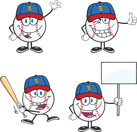 Baseball Ball Cartoon Mascot Characters 2  Collection Set Vector