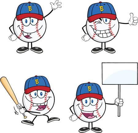 Baseball Ball Cartoon Mascot Characters 2  Collection Set Vector