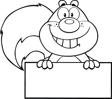 Black And White Squirrel Cartoon Mascot Character Over Blank Sign