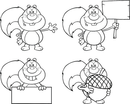 Black And White Squirrel Cartoon Mascot Character  Collection Set
