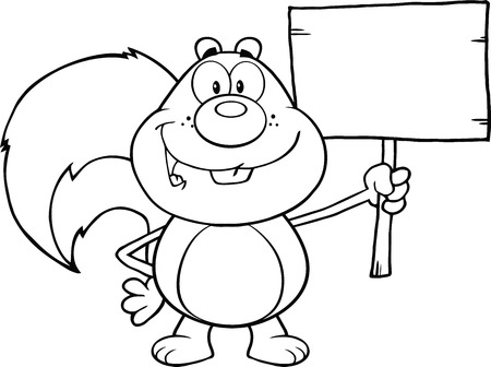 Black And White Squirrel Cartoon Mascot Character Holding A Wooden Board  Illustration Isolated on white Vector
