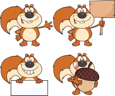 Squirrel Cartoon Mascot Karakter Collection Set