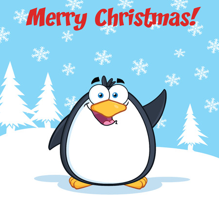 Merry Christmas Greeting With Funny Penguin Cartoon Character Waving Stock Vector - 29415629
