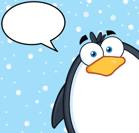 Cute Penguin Cartoon Character Looking From A Corner With Speech Bubble Vector