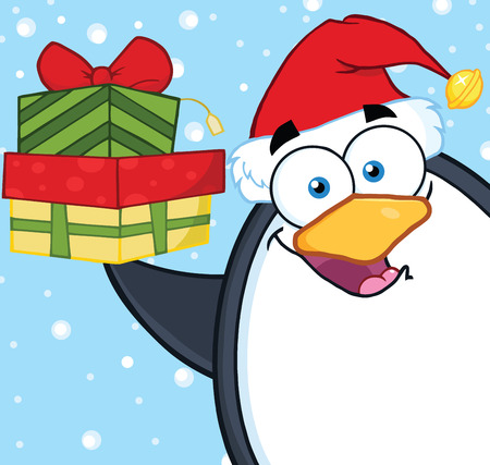 Smiling Penguin Cartoon Character Holding Up A Stack Of Gifts Stock Vector - 29415632