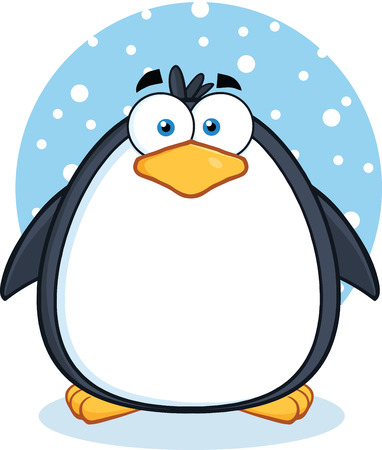 Cute Penguin Cartoon Mascot Character In The Snow Stock Vector - 29415639