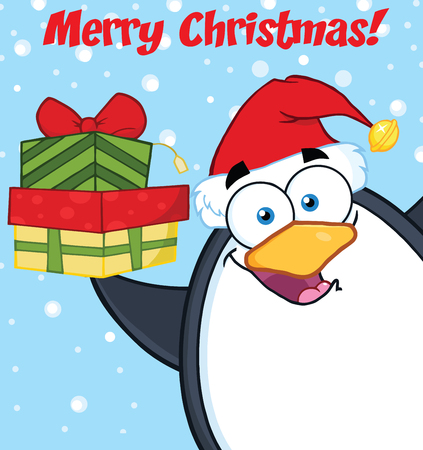 Merry Christmas With Penguin Cartoon Mascot Character Holding Up A Stack Of Gifts Illustration