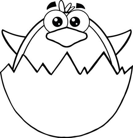 nido de pajaros: Blanco y negro Sorpresa del pingüino del bebé de una cáscara de huevo