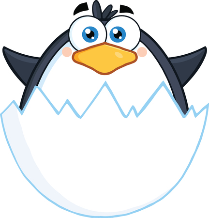 Surprise Baby Penguin Out Of An Egg Shell Vector