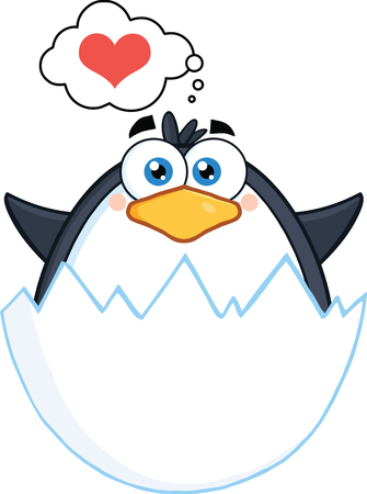 Surprise Baby Penguin Out Of An Egg Shell With Speech Bubble With Heart Stock Illustratie