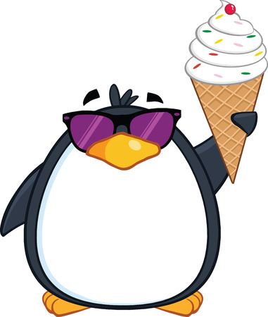 Cute Penguin With Sunglasses And Ice Cream Vector