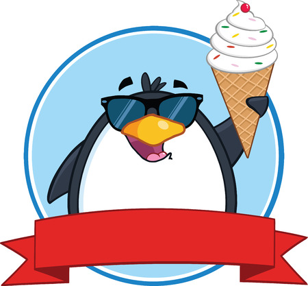 soft serve ice cream: Smiling Penguin With Sunglasses And Ice Cream Circle Banner Illustration