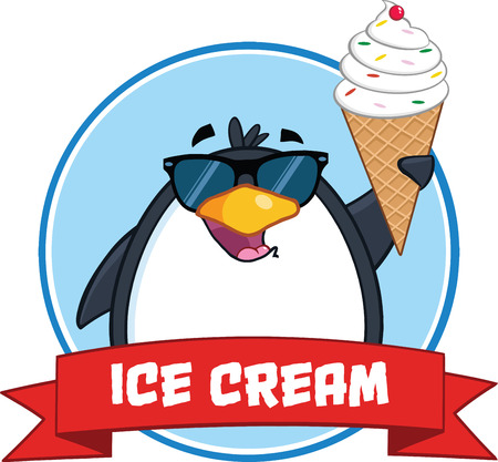 Smiling Penguin With Sunglasses And Ice Cream Circle Banner And Text