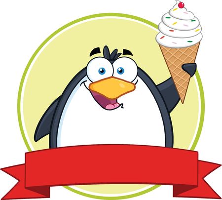 Smiling Penguin With Ice Cream Circle Banner  Vector