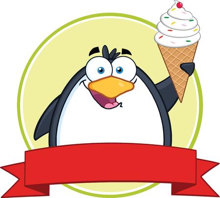 ice cream vanilla: Smiling Penguin With Ice Cream Circle Banner