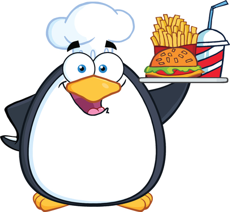 Chef Penguin Holding A Platter With French Fries And A Soda Vector
