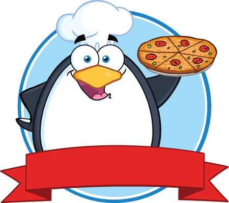 Chef Penguin Holding A Pizza Pie Circle Banner Vector