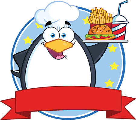 little chef: Chef Penguin Holding A Platter With French Fries And A Soda Circle Banner Illustration