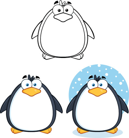 Penguin Cartoon Mascot Character Poses Collection Set Stock Vector - 29615744