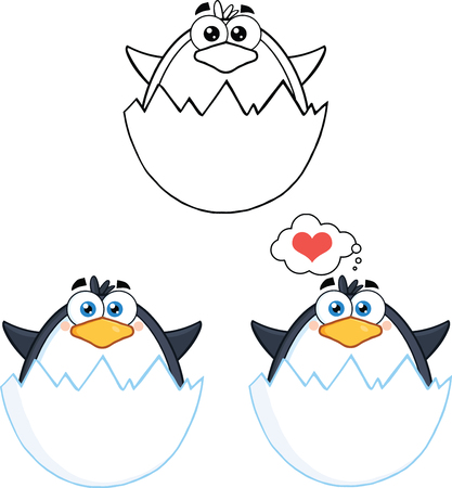 Penguin Cartoon Mascot Character Poses Collection Set Stock Vector - 29615748