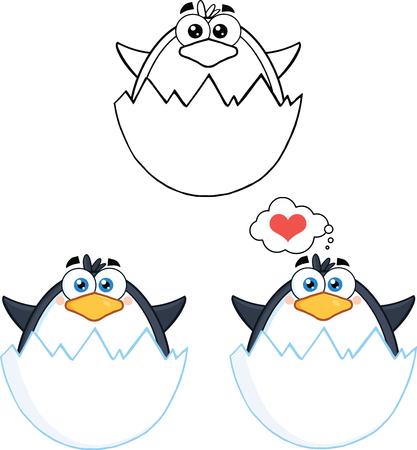 Penguin Cartoon Mascot Character Poses Collection Set