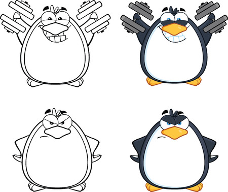 Penguin Cartoon Mascot Character Poses Collection Set Stock Vector - 29615572