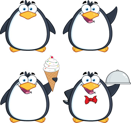 Penguin Cartoon Mascot Character Poses Collection Set Vector