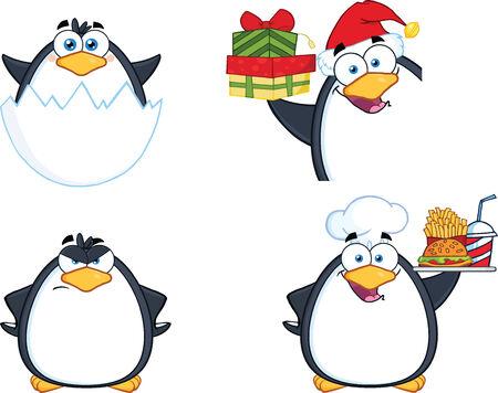 Penguin Cartoon Mascot Character Poses 11  Collection Set