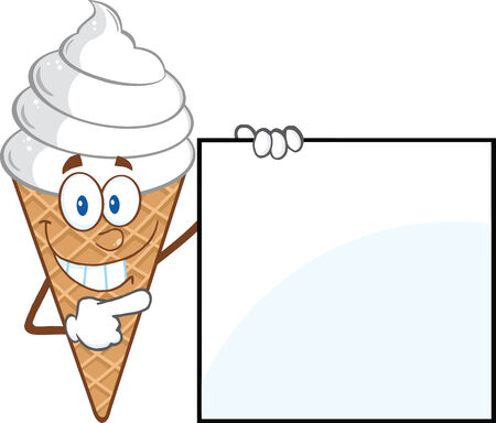 Ice Cream Cartoon Mascot Character Showing A Blank Sign