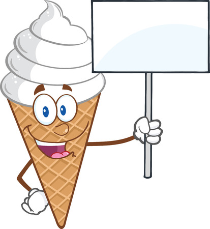 cone cake cone: Ice Cream Cartoon Mascot Character Holding A Blank Sign Illustration