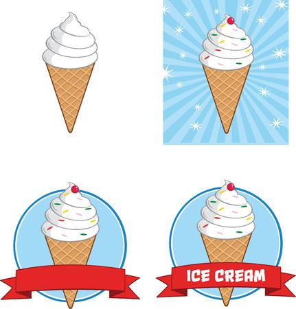 helado caricatura: Cono de helado Círculo Banners Collection Set